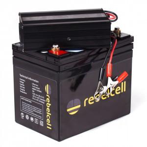 Rebel Cell LiOn Akku für Fischer 12V50A - XL mit Ladegerät - Die Kraft am Wasser - konstante Kraftabgabe bei Voll-Last bis der Saft aus ist